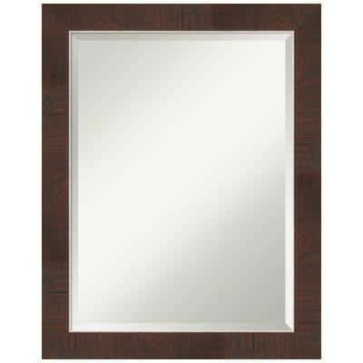 Medium Rectangle Wildwood Brown Beveled Glass Casual Mirror (28 in. H x 22 in. W)