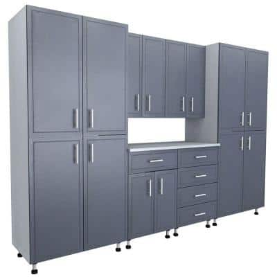 80.5 in. x 120 in. x 21 in. ProGarage Basic Plus Storage Systems in Gray (7-Piece)