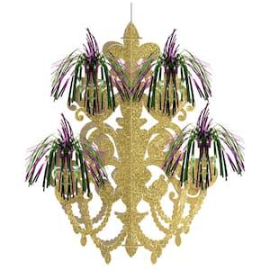 20.5 in. Mardi Gras Green, Purple and Gold Foil Firework Chandelier Decoration