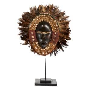 Large Hand-Carved Baobab Wood, Chicken Feathers and Cowrie Shell Dan Mask on Stand