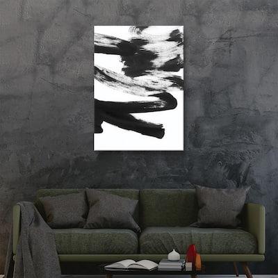 'Black & white strokes 5' by Iris Lehnhardt Canvas Wall Art