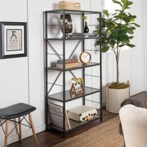 63 in. Driftwood/Black Metal 4-shelf Etagere Bookcase with Open Back