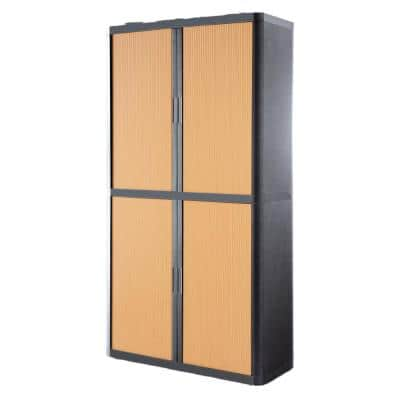 Paperflow easyOffice 80 in. Tall with 4-Shelves Storage Cabinet in Charcoal and Beech