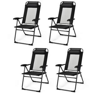 Black Metal Folding Lawn Chair (Set of 4)