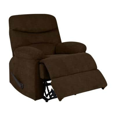35 in. Width Big and Tall Chocolate Brown Polyester Wall Hugger Recliner