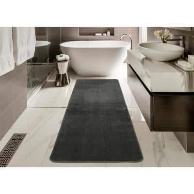 Softy Collection Solid Design Gray 2 ft. 2 in. x 6 ft. Non-Slip Bathroom Rug Runner