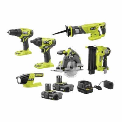 ONE+ 18V Cordless 6-Tool Combo Kit with (2) 2.0 Ah Batteries and Charger