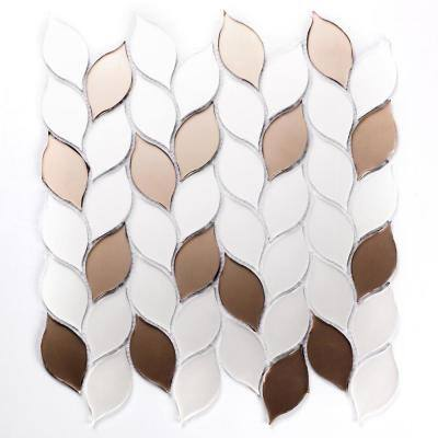 Handmade Décor Frosted Matte White & Bronze Tear Drop Mosaic 1 in. x 3 in. Glass Wall Tile (10.8 Sq. ft./Case)