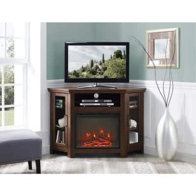 Traditional Brown Fireplace Corner Fireplace Entertainment Center