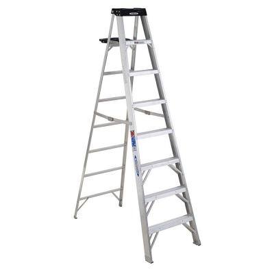 8 ft. Aluminum Step Ladder (12 ft. Reach Height), 300 lbs. Load Capacity Type IA