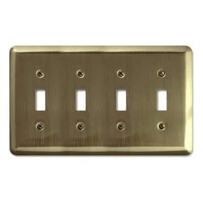 Brass 4-Gang Toggle Wall Plate (1-Pack)