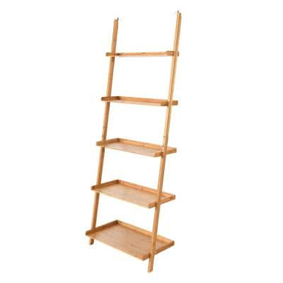 71 in. Natural Bamboo 5 -Shelf Ladder Bookcase with Wall-Leaning Storage