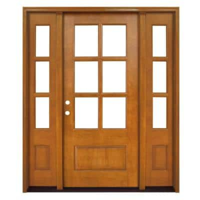64 in. x 80 in. Craftsman Savannah 6 Lite RHIS Autumn Wheat Mahogany Wood Prehung Front Door with Double 12 in. Sidelite