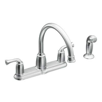 Banbury 2-Handle Mid-Arc Standard Kitchen Faucet with Side Sprayer in Chrome
