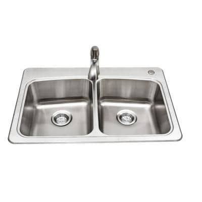 All-in-One Stainless Steel 33 in. 2-Hole 50/50 Double Bowl  Drop-in Kitchen Sink Kit with Faucet and Strainer