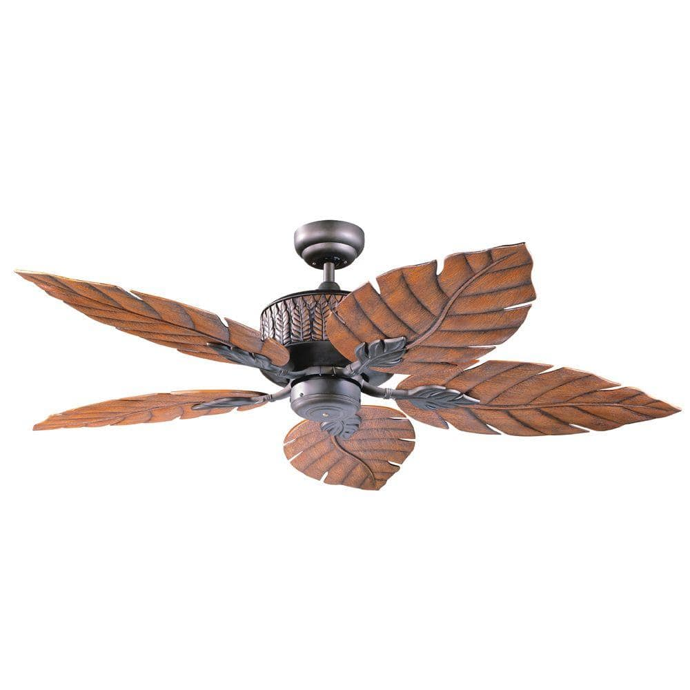 Designers Choice Collection Fern Leaf 52 In Indoor Outdoor Oil Rubbed Bronze Ceiling Fan Ac13152 Orb The Home Depot
