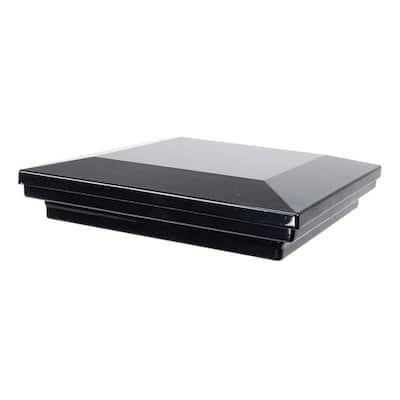 6 in. x 6 in. Gloss Black Aluminum Flat Pyramid Post Cap
