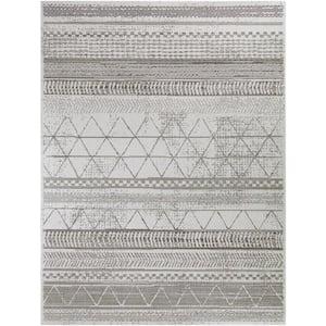 Tribal Lines Gray 8 ft. x 10 ft. Global Indoor/Outdoor Area Rug