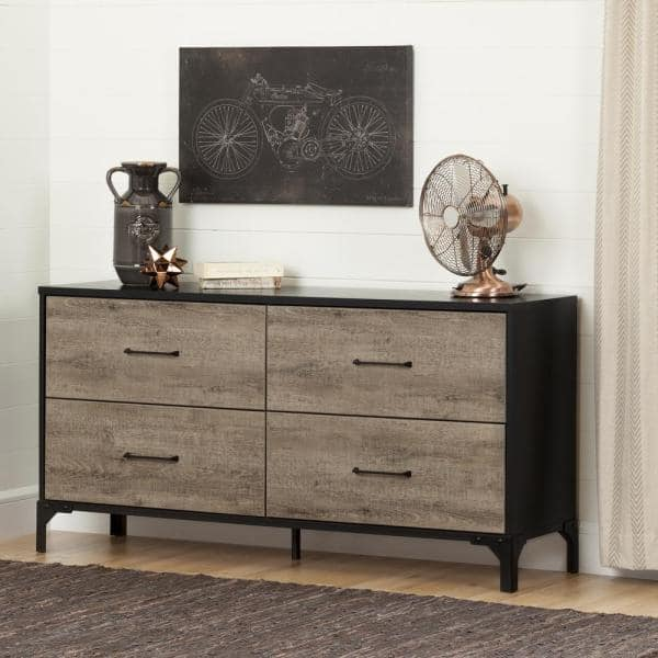 South Shore Valet 4 Drawer Weathered Oak And Ebony Dresser 10496 The Home Depot