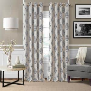 Gray Medallion Blackout Curtain - 52 in. W x 84 in. L