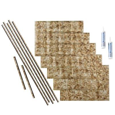 Traditional 1 18 in. x 24 in. Bermuda Bronze Vinyl Decorative Wall Tile Backsplash 15 sq. ft. Kit