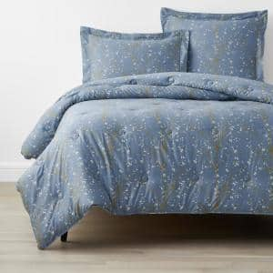 Company Cotton Thistle Blue Twin Bamboo Sateen Comforter