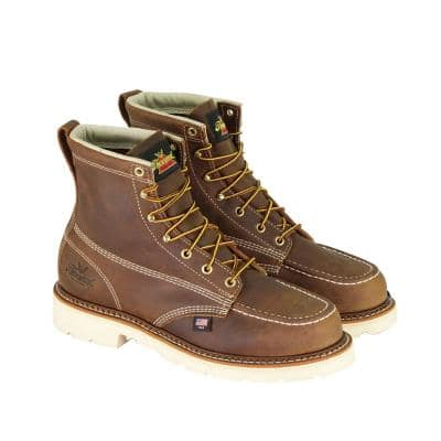 Men's American Heritage Leather 6 in. Work Boots - Maxwear 90 Moc Safety Toe - Trail Crazyhorse Size 10 Medium (D)