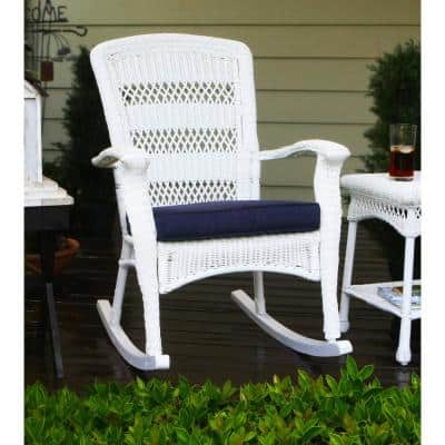 Portside Plantation Outdoor Rocking Chair White Wicker with Blue Cushion