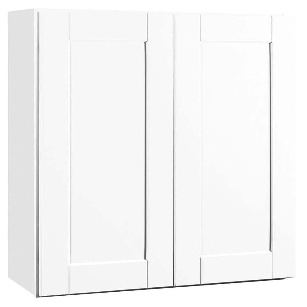 Shaker Satin White Stock Assembled Wall Kitchen Cabinet (30 in. x 30 in. x 12 in.)