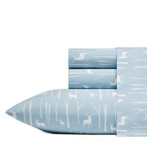 Birch Forest 4-Piece Blue Graphic Flannel Queen Sheet Set