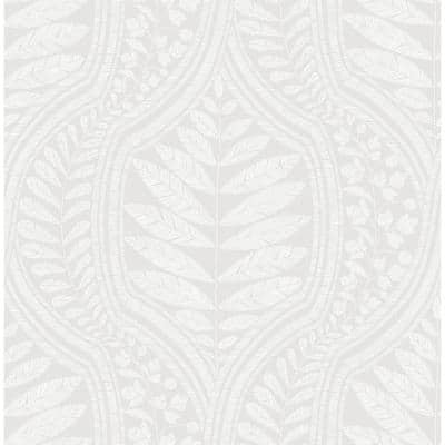 Juno Light Grey Ogee Light Grey Wallpaper Sample