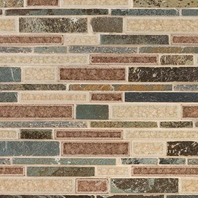 Olive Branch 11-3/4 in. x 11-3/4 in. x 10 mm Slate Glass and Stone Mosaic Tile