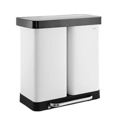 Edmund 16 Gal. White Double-Bucket Kitchen Trash/Recycling Can