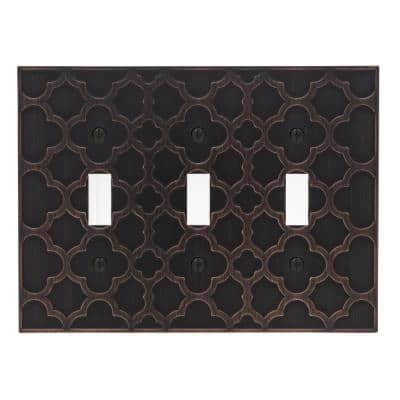 Bronze 3-Gang Toggle Wall Plate (1-Pack)