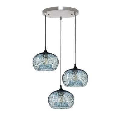 Rustic Seeded 9 in. W x 6 in. H 3-Light Silver Hand Blown Glass Chandelier with Blue Glass Shade