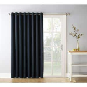 Black Woven Thermal Blackout Curtain - 100 in. W x 84 in. L