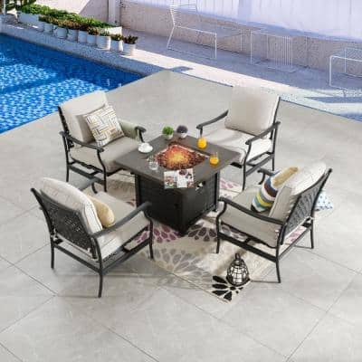 5-Piece Metal Patio Fire Pit Seating Set with Beige Cushions