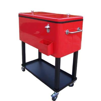 80 Qt. Steel Red Patio Cooler Cart