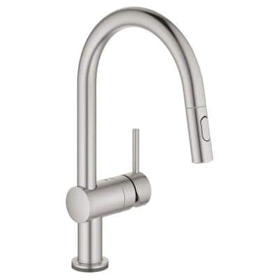 Minta Single-Handle Touch Dual Spray Pull-Out Sprayer Kitchen Faucet 1.75 GPM in SuperSteel InfinityFinish
