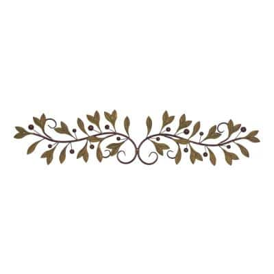 Metal Brown and Green Leaf and Berry Wall Decor