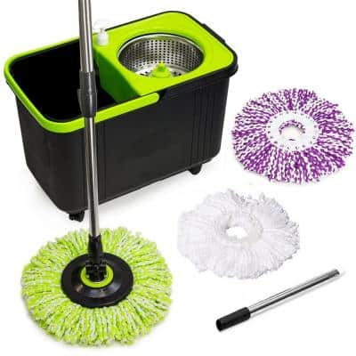 Black and Green Spin Mop with 3 Mop Heads