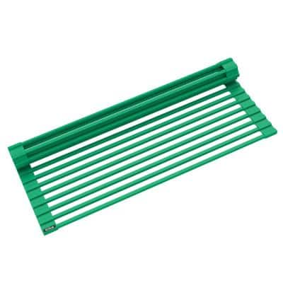 Multipurpose Green Over-Sink Roll-Up Dish Drying Mat Rack