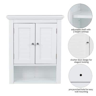 20 in. W x 8.47 in. D x 24.1 in. H Wall Cabinet with Double Doors in White