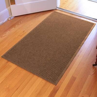 Aqua Shield Squares 35 in. x 59 in. PET Polyester Doormat Dark Brown