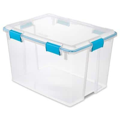 80 Qt. Plastic Home Storage Gasket Box Container in Clear (12-Pack)
