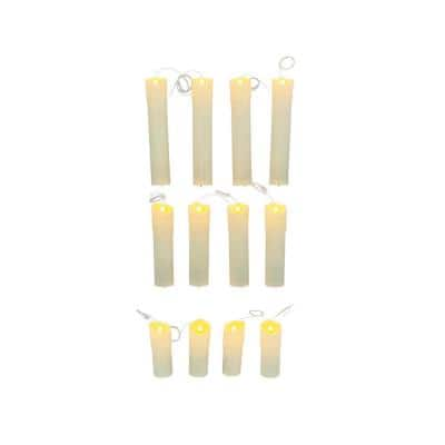White Spooky Floating Flameless Halloween Candles (12-Pack)