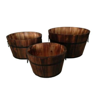 7 in. Dia. Brown Round Wooden Planters with Narrow Bottom and Handles (Set of 3)