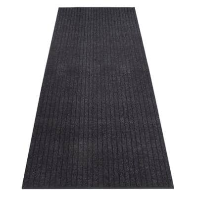 Ottawa Cut to Size Grey Color Ribbed Style 26 inches Width x Your Choice Length Custom Size Slip Resistant Runner Rug