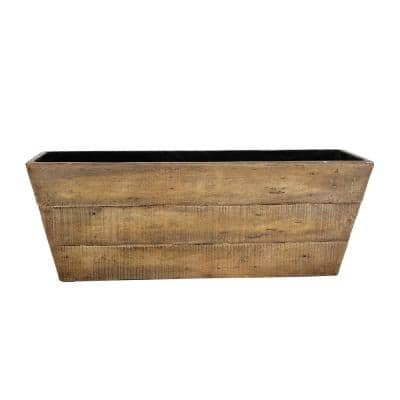 28 in. x 10.25 in. x 10 in. H Barnwood Composite Rectangular Planter