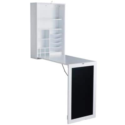 21 in. Rectangular White Floating Desk with Built-In Storage